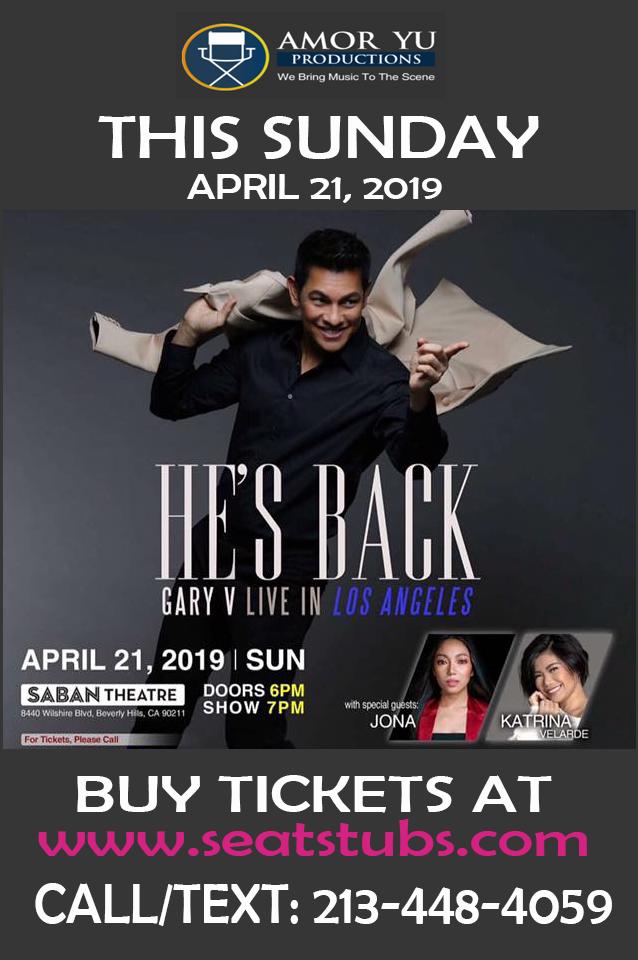 Gary Valenciano He's Back Concert Saban Theater April 21, 2019