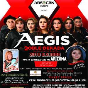 Aegis Arizona, Tickets, Wild Horse Pass Casino, November 30 2018